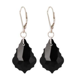 Baroque Earrings in Jet (Black) Sterling Silver