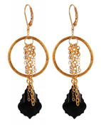 Baroque Chain Earrings in Jet (Black) 18k Gold Vermeil