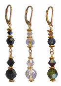 Crystal Dangle Earrings in 18k Gold Vermeil in (left to right) Jet (Black), Crystal (Clear AB), Earth