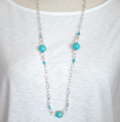 Turquoise & Crystal Long Necklace
