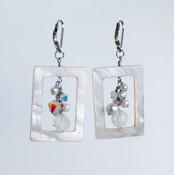 White Shell Cluster Earrings