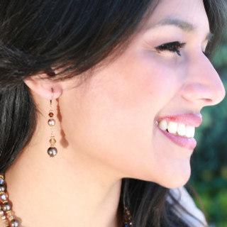 Sandy Beach Dangle Earrings in 18K Gold Vermeil. Shown with the Sandy Beach Necklace.