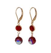Channel Set Earrings in Gold Siam (Red)