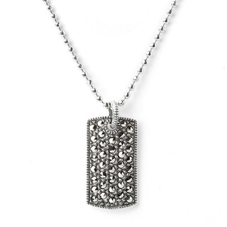 Judith Jack Marcasite Dog Tag Necklace