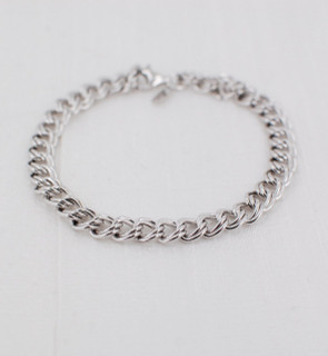 Parallel Curb Chain Charm Bracelet