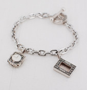 Charm Bracelet with Clock & Frame Charm