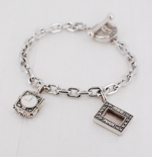 Charm Bracelet with Clock & Frame Charm