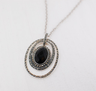 Onyx & Marcasite Oval Necklace