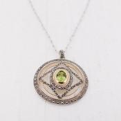 Green Quartz Medallion Necklace