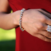 Basic Bracelet shown in 18K Gold Vermeil Crystal (Clear). Shown with our Cluster Ring in 18K Gold Vermeil Crystal (Clear).