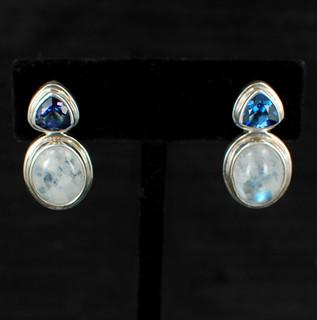 Moonstone & Asotic Blue Topaz Post Earrings