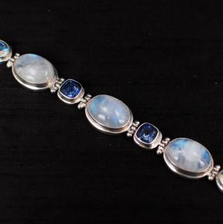 Moonstone, Mercury Mist & Azotic Blue Topaz Bracelet