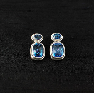 Neptune Topaz Two-Stone Post Earrings