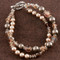 Double Bracelet shown in Sterling Silver Sandy Beach - Bronze & Brown Swarovski crystal pearls with Light Colorado Topaz & Smoked Topaz Swarovski crystals.