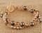 Double Bracelet shown in 18K Gold Vermeil Sandy Beach - Bronze & Brown Swarovski crystal pearls with Light Colorado Topaz & Smoked Topaz Swarovski crystals.