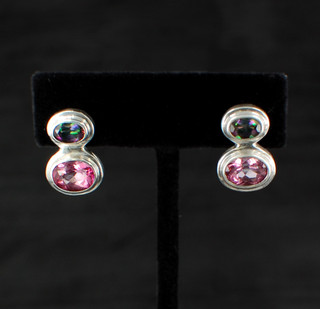 Mystic & Pink Topaz Post Earrings