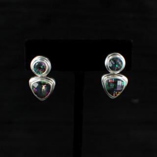 Mystic Topaz Trillion & Round Post Earrings