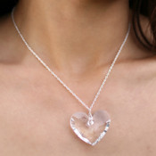 Truly Heart Necklace in Sterling Silver Crystal (Clear)