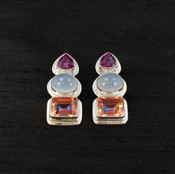 Azotic Topaz, Moonstone & Raspberry Quartz Post Earrings