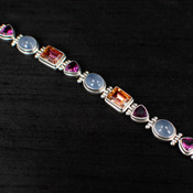 Azotic Topaz, Moonstone & Raspberry Quartz Bracelet