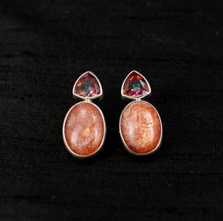 Azotic Topaz & Sunstone Post Earrings