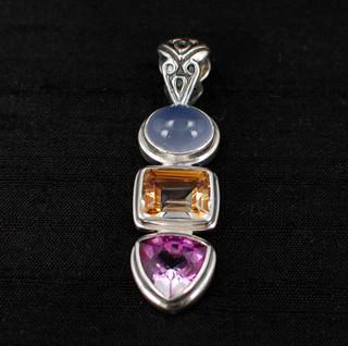 Azotic Topaz, Moonstone & Raspberry Quartz Pendant