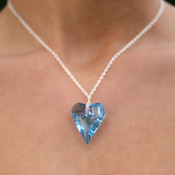 Wild Heart Necklace in Sterling Silver Aquamarine