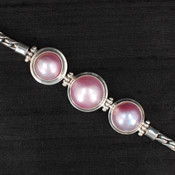 Three Pink Pearl Bracelet