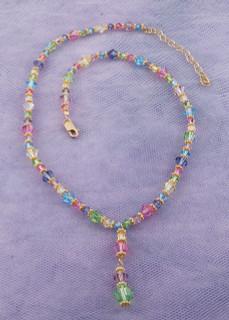 Crystal Drop Necklace in 18K Gold Vermeil Pastel