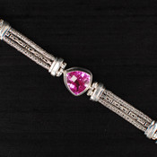 Rose Corrundum Trillion-Cut Chain Bracelet