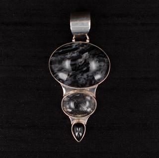 Agate, Onyx & Rutilated Quartz Pendant