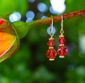Two Crystal Earrings in 18k Gold Vermeil Fire Opal