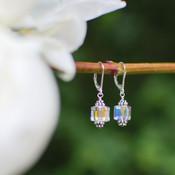 Cube Earrings in Sterling Silver Crystal (Clear)