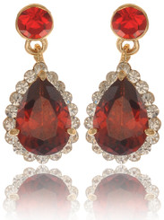 Red Crystal Teardrop Earrings