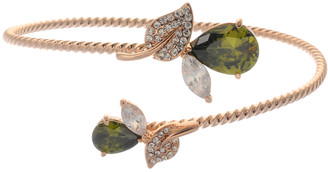 Neoglory Gold Plated Glamour Droplet Crystal Twist Casual Lime Zircon Bangle