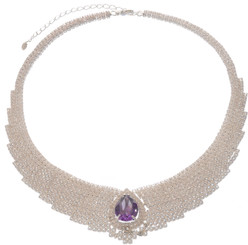 Neoglory Only You Sliver Plated Purple Crystal Wedding Necklace