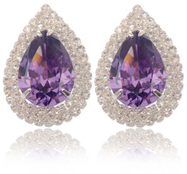 Neoglory Only You Sliver Plated Purple Crystal Wedding Earrings