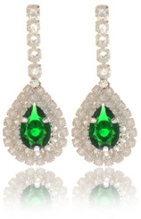 Small Crystal Teardrop Earrings With Clear Crystal Frame