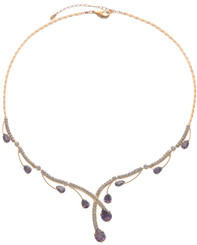 Neoglory Gold Plated Raindrop Purple Crystal Party Wear Necklace