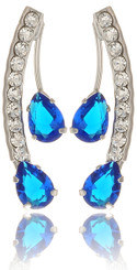 Twin Blue Teardrop Crystal Earrings