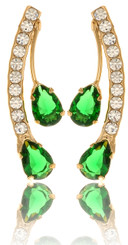 Twin Green Teardrop Crystal Earrings