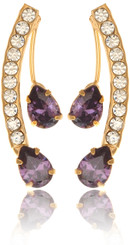 Neoglory Gold Plated Raindrop Purple Crystal Party Wear Earrings