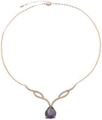 Neoglory Gold Platedromantic Purple Crystal Party Wear Necklace