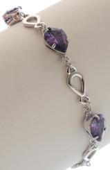 Neoglory Raindrop Droplet Purple Crystal Carved Casual Bracelet