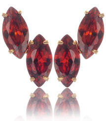 Neoglory Gold Plated Precious Elliipse Red Crystal Party Wear Earrings