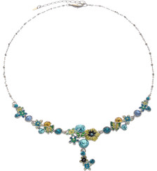 Neoglory Bloom Yellow And Green Crystal Butterfly Summer Holiday Necklace