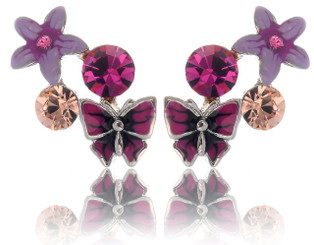 Neoglory Bloom Purple And Pink Crystal Butterfly Summer Holiday Earrings