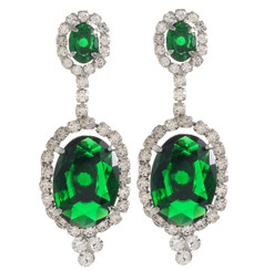 Neoglory Sunny Saturday Silver Plated Emerald Green Crystal Wedding/Party Wear Earrings