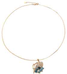 Neoglory Gorgeous Aqua Blue Crystal Butterfly Casual Necklace