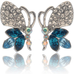 Neoglory Gorgeous Aqua Blue Crystal Butterfly Casual Earrings